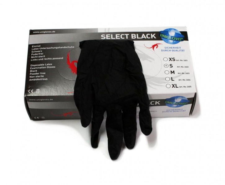 Unigloves Select Black Latex Puderfrei, 100 Stueck, Gr.S