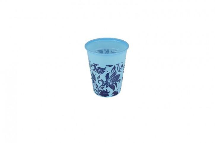 Plastikbecher Flower 0.18 L blau