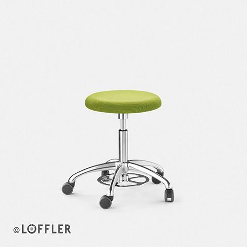 Löffler ERGO Hocker, FK poliert, Fußauslöse, Sitz 40mm